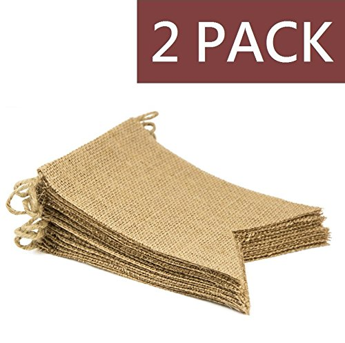 YIYATOO 14.5ft,15pcs DIY Vintage Burlap Banner Hand Painted Decoration for Wedding, Birthday and Kids Party ,2 pack -