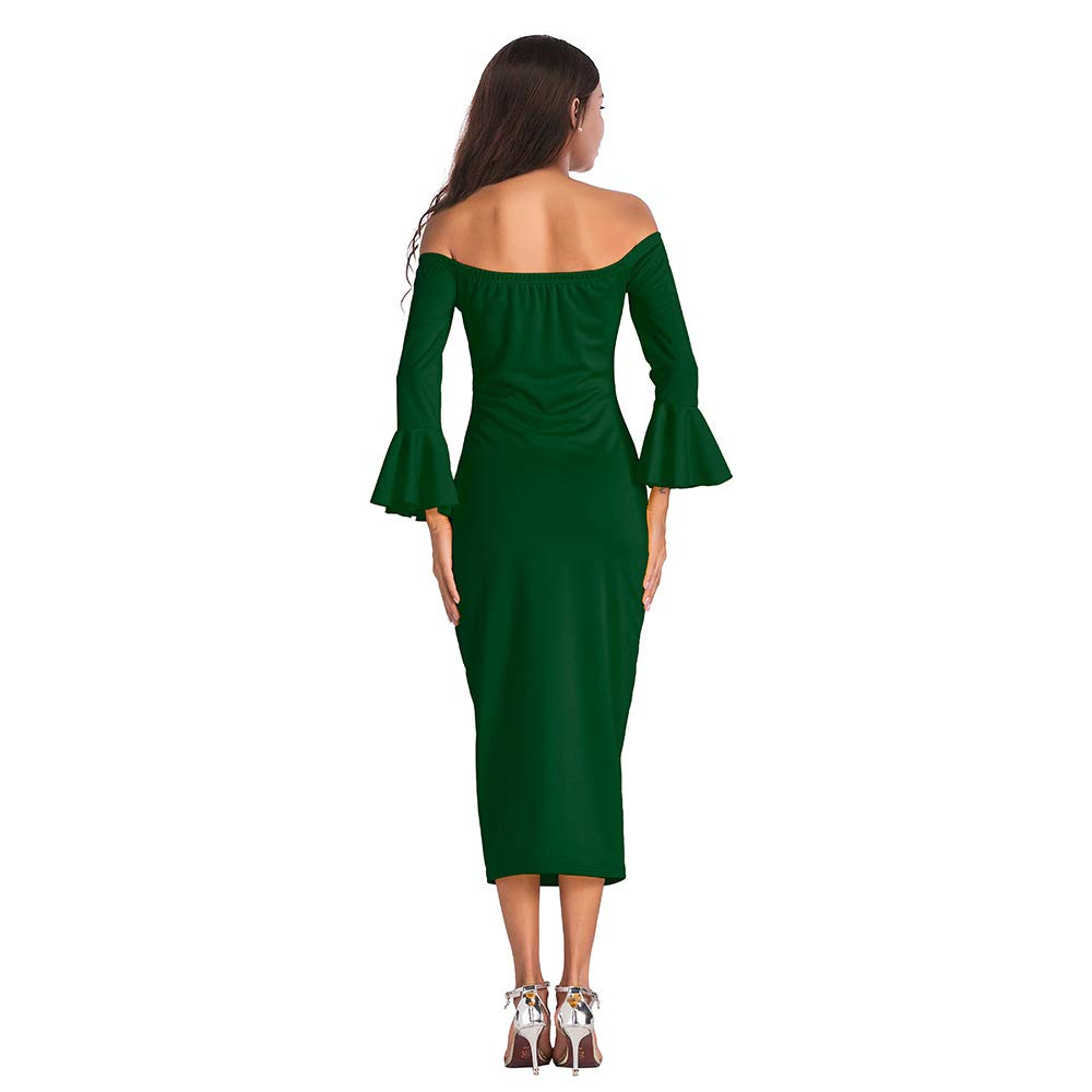 Ruffle Midi Dress for Women - Casual Off Shoulder Long Sleeve Solid Bodycon Dress Small Green