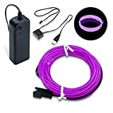 SZMAITOU LED EL Wire Lights, Glowing Neon Lights EL Wire, DC 12V 16 Feet LED Lights with USB Driver and Battery Pack Controller for Automotive Costume Cosplay Crafts Decoration - 5m/16ft, Purple