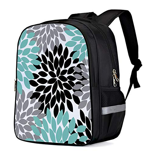 Cool School Bag Kids Backpacks for Toddler Child Teenage Daypacks,Colorful Dahlias Flower Pattern Grey and Green Book Bags,16 Inch