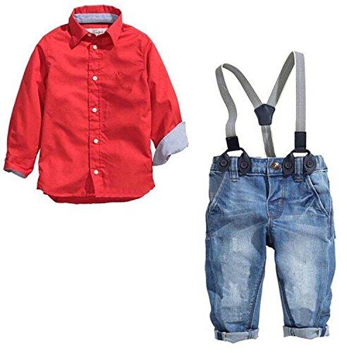 Little Boys Casual Suspender Denim Pants + T-shirt Outfits Clothing Sets (5T,
