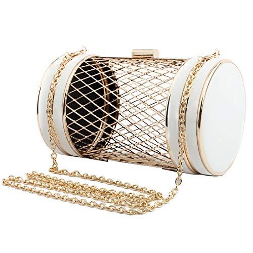 Boutique Purse (LETODE Women Fashion Evening Clutch Bag Boutique Metal Hollow Barrel Shoulder Handbag Party Totes Messenger Crossbody PU Leather Purse (WHITE))