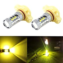 Alla Lighting High Power 3030 SMD New Version Xtremely Super Bright Gold Yellow 5202 5201 H16 LED Bulbs for Fog Light Lamps Replacement