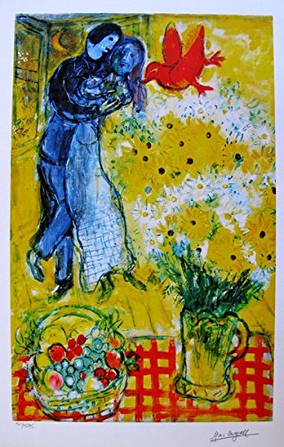 (Art by Marc Chagall Lovers And Daisies Limited Edition Facsimile Signed Small Giclee Print. After the Original Painting or Drawing. Paper 15 Inches X 11 Inches)