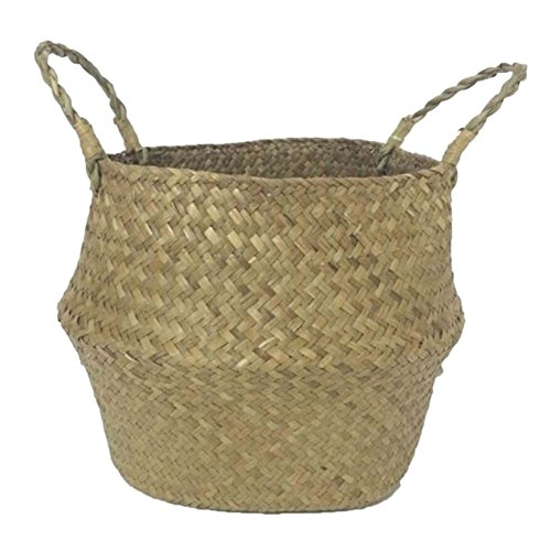 Smartcoco Foldable Natural Seagrass Woven Hanging Storage Basket with Handle Toys Laundry Storage Holder Container Home Plants Flower Decoration, M