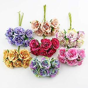 GSD2FF 6pcs 3cm Silk Rose Artificial Stamen Flower Bouquet for Scrapbook Wedding Decorative Wreath DIY Craft Flowers 79