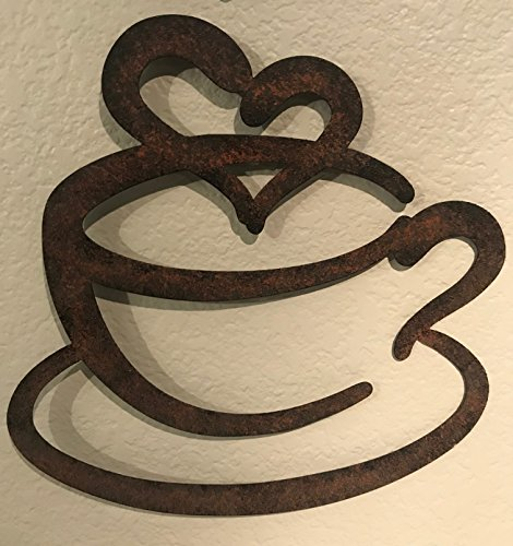 "14/"" Large Black Metal Coffee Cup Mug Scrolled Silhouette Metal Wall Art Décor"
