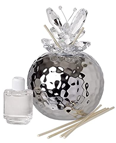 Debora Carlucci Italian Decorative Reed Diffuser Silver Hammered Finish Crystal Butterfly Top, Aria Mediterranea Scent - Butterfly Perfume Stopper Bottle