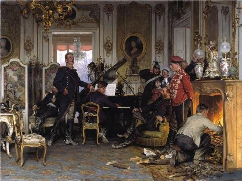 [Oil Painting 'Anton Von Werner-In The Troops Quarters Outside Paris,1894', 10 x 13 inch / 25 x 34 cm, on High Definition HD canvas prints, gifts for Home Office, Home Theater And Study Room] (Diy Snow Globe Costume)