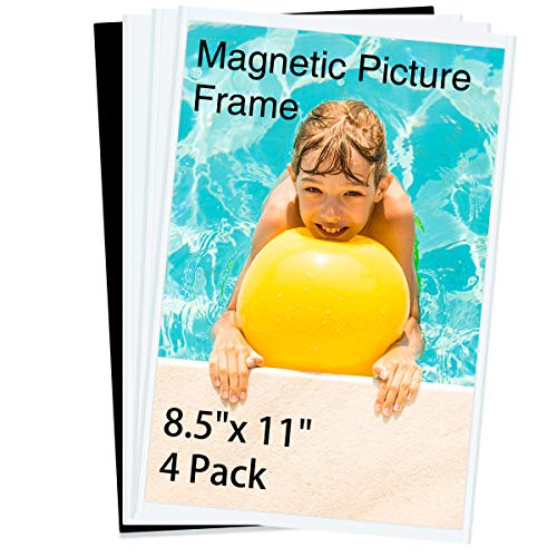 Picture Frame Refrigerator Magnet - HIIMIEI Magnetic Photo Frames for Refrigerator 8.5x11, 4 Pack Fridge Magnets Picture Frame Photo Pocket,Perfect for Displaying Frames,Children Artworks and Schedules