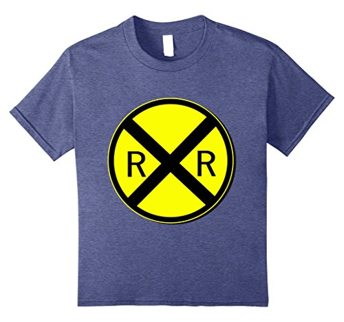 Diy Blues Brothers Costume (Kids Railroad Crossing Sign Simple Easy Halloween Costume T-Shirt 8 Heather Blue)
