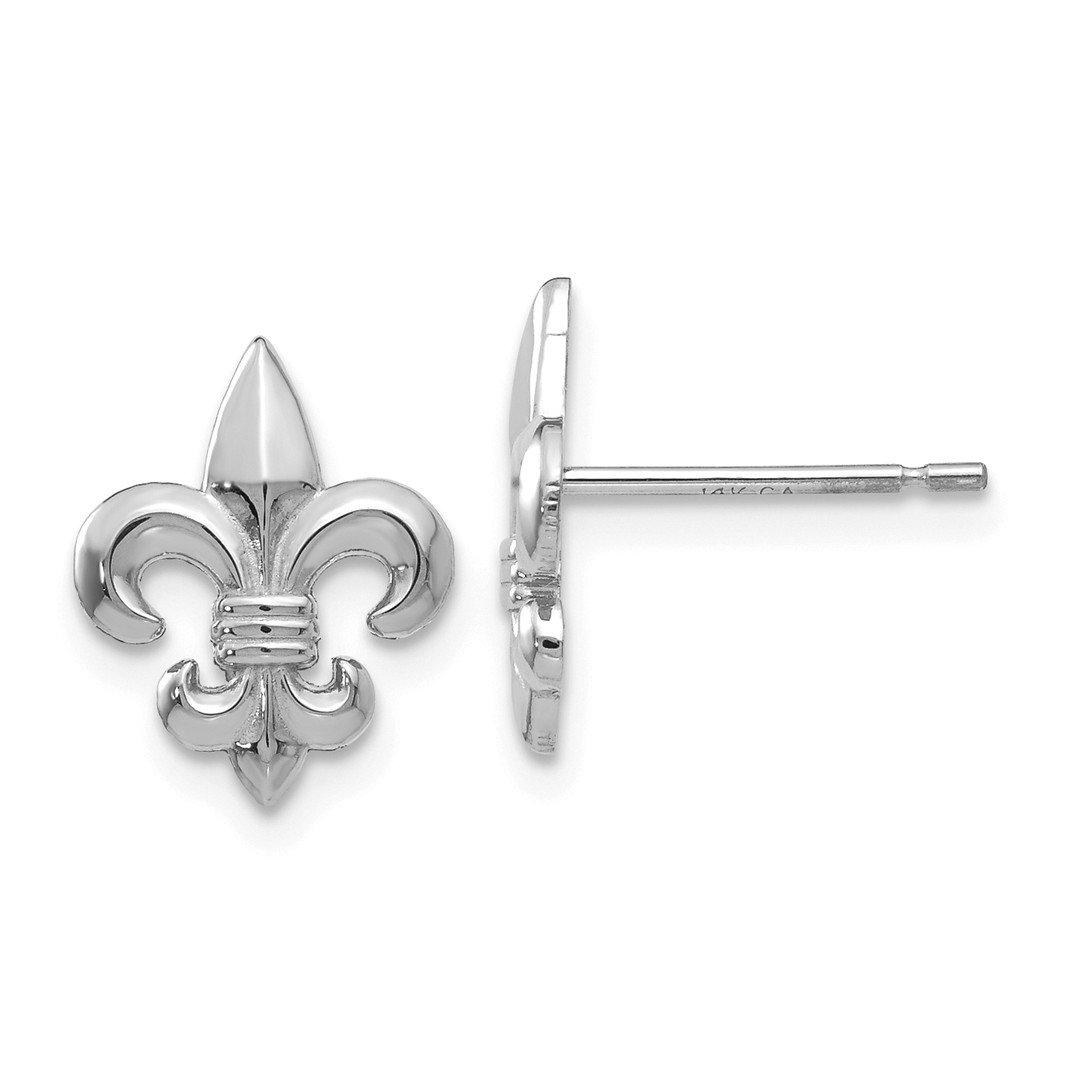 ICE CARATS 14k White Gold Fleur De Lis Post Stud Ball Button Earrings Fine Jewelry Gift Set For Women Heart