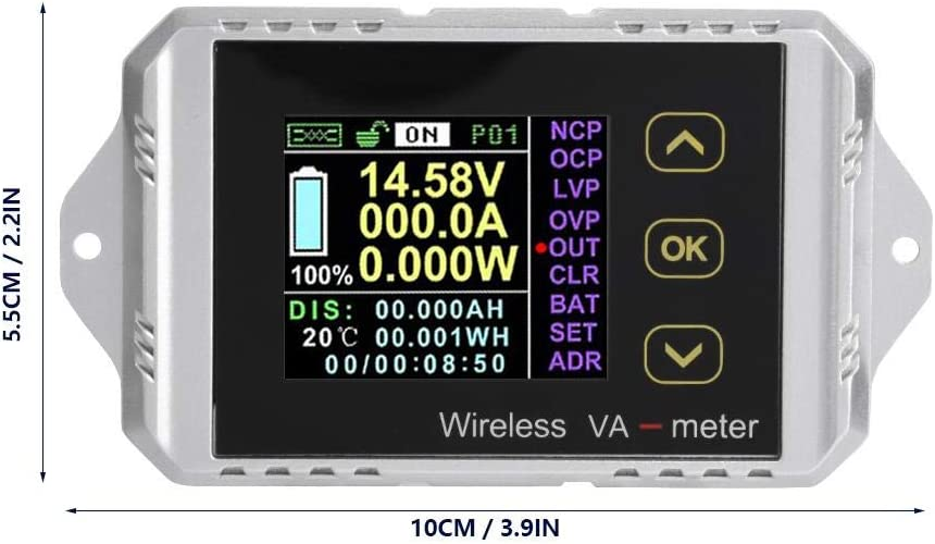 Oumij Wireless Battery Tester Ammeter power meter Wireless Color LCD Screen DC Voltage Ammeter Power Meter Watt Tester(VAT-1200) VAT-1100