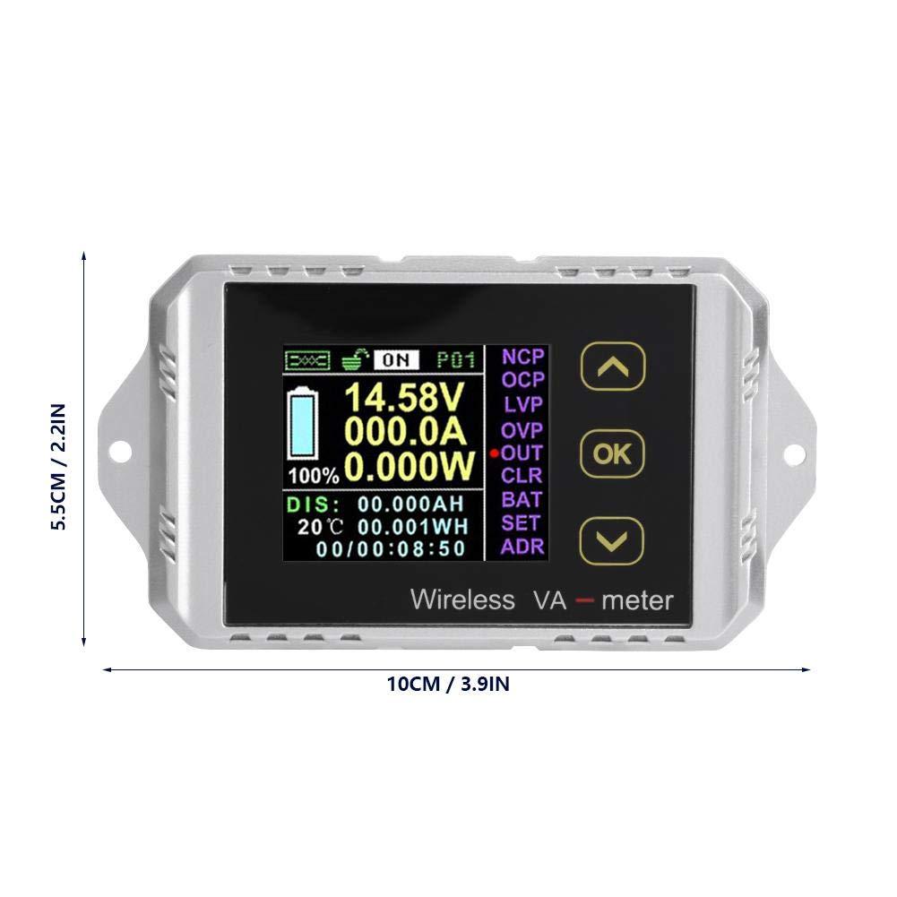 Akozon Multimeter DC Voltmeter Wireless Color LCD Screen DC Voltage Ammeter Power Meter Watt Tester Electric Digital Voltage Tester VAT-1200, 0-200A 0-100V