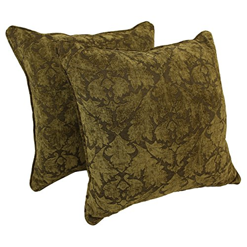 Blazing Needles Double-Corded Patterned Jacquard Chenille Square Floor Pillows with Inserts (Set of 2), 25