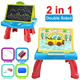 2 in 1 Drawing Board for Children Blackboard White Easel with Chalk Pen Eraser Learning Table for 3 Years Old Boys (Blue)