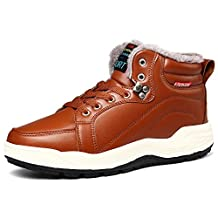 VILOCY Men's Warm Leather Waterproof Snow Boots Anti-slip Fur Lined Ankle Sneakers High Top Shoes