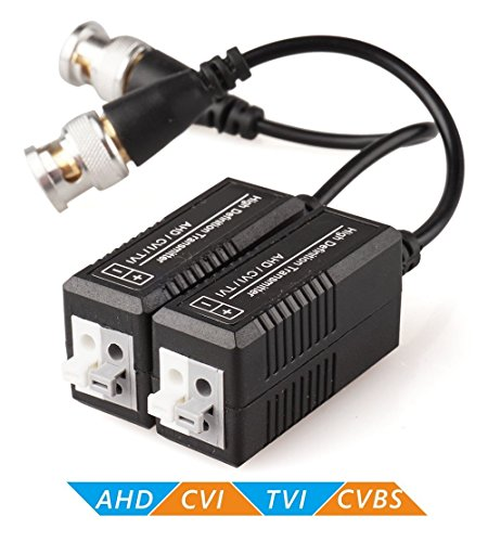 5 Bnc Component (ZUEXT 4 Pairs Passive Video Balun Transmitter & Transceiver with Cable for 1080P TVI/CVI/TVI/AHD/960H DVR Camera CCTV System, Male BNC to UTP CAT5/5e/6/6e Cable, No Power Required)