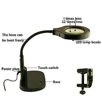 LDD 5X 12X Hd Led Lámpara de mesa de lupa de escritorio con anillo ...