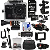 Vivitar DVR914HD 1440p HD Wi-Fi Waterproof Action Video Camera Camcorder (Black) + Remote, Helmet, Bike, Suction Cup + Dashboard Mounts + 64GB + Case Kit