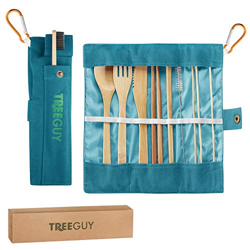 TreeGuy Bamboo Utensils Set (6 Available Colors) with Bamboo Toothbrush and toothpicks/Travel Cutlery (1 Pack, Teal)