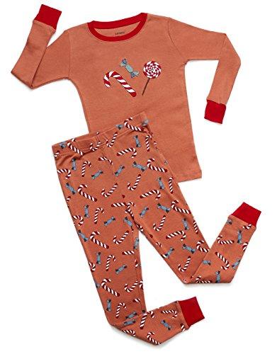 Leveret Organic Cotton Candy Cane 2 Piece Pajama Set 3 Years