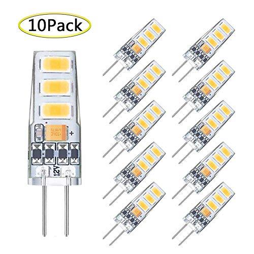 G4 LED Bulb Dimmable Mini 2 Watt G4 Bulb Equivalent to 20W G4 Halogen Bulb Replacement, T3 JC Type Bi-Pin G4 Base, AC/DC 12V Warm White 3000K G4 Light Bulb (10 Pack) ()