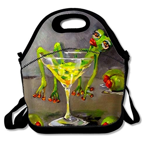 IMISS Lunch Bag Drunk Frog Lunch Tote Lunch Box Bag with Shoulder Straps