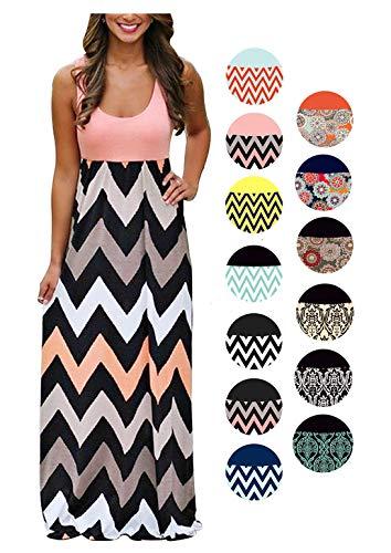 LIYOHON Womens Summer Striped Print Loose Maxi Dress Contrast Sleeveless Tank Top Floral Print Long Maxi Dresses for Women (Medium, Pink)
