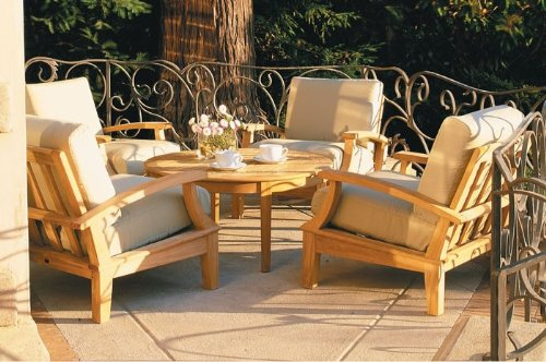 New Luxurious 5 Piece Teak Sofa Set - 4 Lounge Chairs and 35' Round Coffee Table -Furniture only --Somer Collection #WHSSSA3