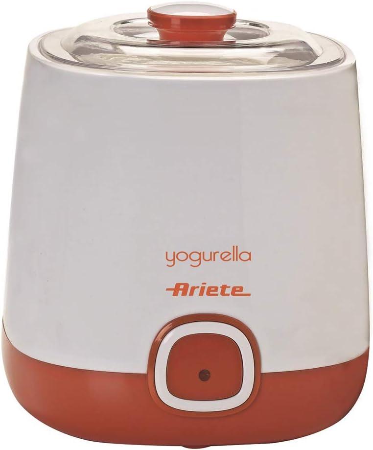 Ariete 621 Yogurtera, capacidad 1 litro, 20 W, 12 horas preparación, tapa doble, diseño compacto apto lavavajillas, Blanco/Naranja