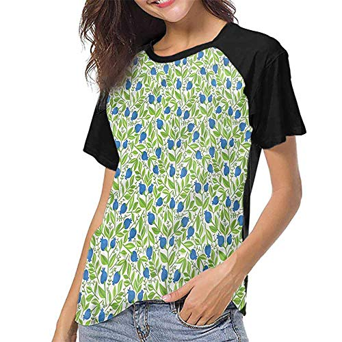 Mangooly Women's Short Sleeve Shirts,Blue and Green,Green Foliage Berry S-XXL Women O Neck Casual T Shirt ()