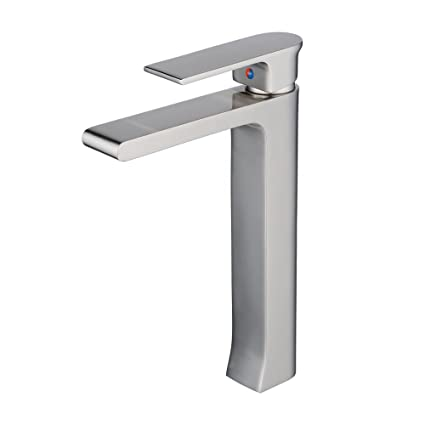 Incroyable Beelee Bathroom Tall Vessel Sink Faucet Brushed Nickel,single Hole,square