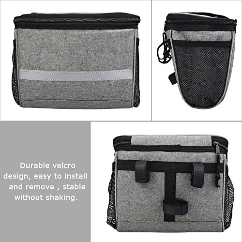 Bicycle BicycleStoreCycling Basket Handlebar Bag with Sliver Grey Reflective Stripe Outdoor Activity Pack Accessories Black 3.5L by Bicycle (Image #4)