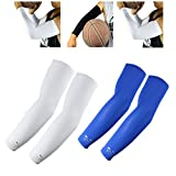 Scorpion Sports Apparel Compression Arm Sleeves (2 Pairs) - Kids, Youth - Basketball Shooter Football Baseball Cycling Volleyball, White, Blue