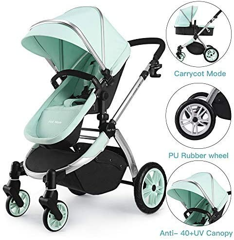 Multi cochecito 2 en 1 Carrito Bebe Hot Mom silla de paseo el capazo se convierte fácilmente en una silla y viceversa 2020 estilo de vida 889, Asiento para bebé vendido por separado - Verde