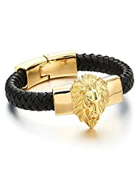 Mens Large Braided Leather Bracelet with Steel Gold Color Lion and Black Genuine Leather Straps