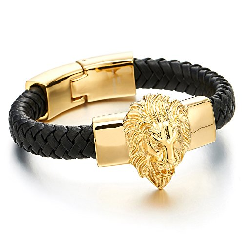 Leather Braided Gold - COOLSTEELANDBEYOND Mens Large Braided Leather Bracelet with Steel Gold Color Lion and Black Genuine Leather Straps