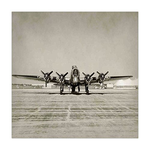 (iPrint Satin Square Tablecloth,Airplane Decor,World War II Era Heavy Bomber Front View Old Photo Flying history Takeoff Aeronautics Decorative,Dining Room Kitchen Table Cloth Cover)