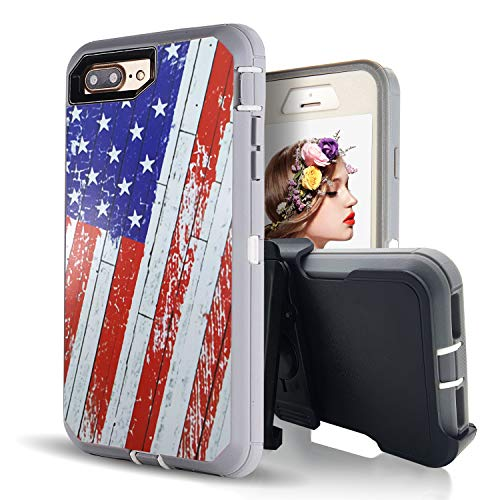 - iPhone 8 Plus Case,iPhone 7 Plus Case with Built-in Screen Protector,Vodico Camo Heavy Duty Defender Shockproof High Impact Resistant Full Body Cover with Belt Clip Holster&Kickstand (US Flag)