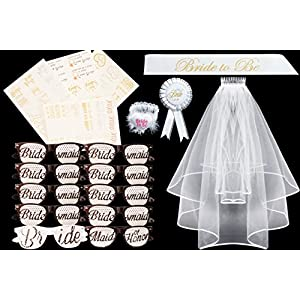 """BIG Bachelorette Party Set,10 set of Sunglasses for Wedding, """"Bride to Be"""" White Double Ribbon Edge Center Cascade Bridal Wedding Veil with Comb,Satin Sash,Rosette Badge and Garter, TATTOOS"""