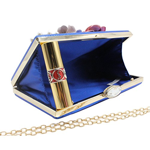 navy Flower Wedding 4 Clutches Party Womens Purses Evening and Bags Blue f4FXwSzW