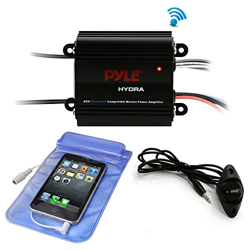 Pyle Auto 2-Channel Bridgeable Marine Amplifier - 200 Watt RMS 4 OHM Full Range Stereo with Wireless Bluetooth & Powerful Prime Speaker - High Crossover HD Music Audio Multi Channel System PLMRMB2CB