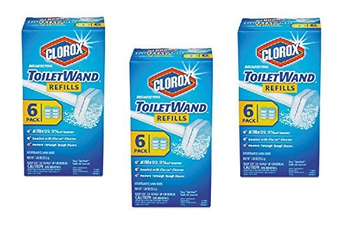 Clorox Disinfecting Toilet Wand Refill Heads, 6 Refills Per