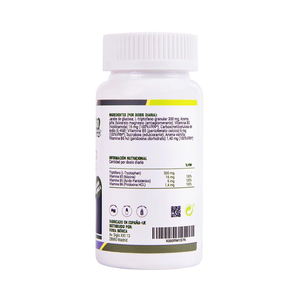 Triptófano en comprimidos masticables de alta concentración para ayudar al ánimo – L triptófano masticable con vitaminas B3, B5 y B6 para una buena ...