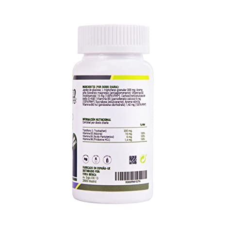 Triptófano en comprimidos masticables de alta concentración para ayudar al ánimo - L triptófano masticable con vitaminas B3, B5 y B6 para una buena salud ...