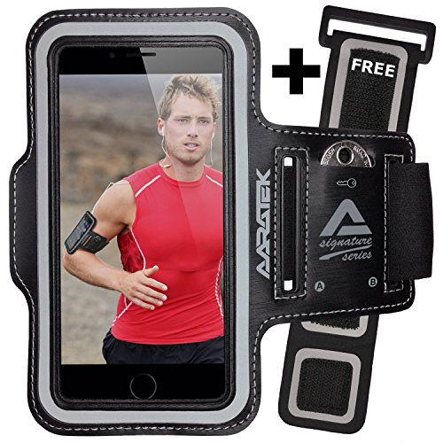 AARATEK SIGNATURE SERIES Pro Sport Armband for iPhone 6, 6s, Galaxy S6, S5, S4, iPods... (Black) with FREE Extender - #1 for running, workouts, cycling, fitness, or any activity outside or in the gym!