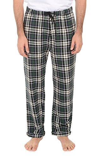 JACHS Mens Flannel Lounge Pajama Pants - Flannel Plaid Pattern,Green-1,Medium