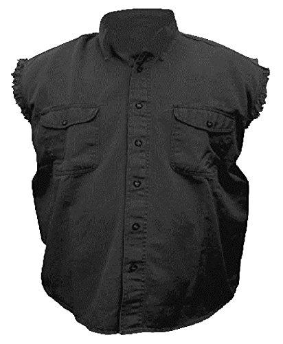 Mens Sleeveless Denim Cotton Twill Biker Shirt Black XL