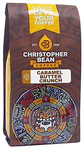 Christopher Bean Coffee Flavored Whole Bean Coffee, Caramel Butter Crunch, 12 Ounce